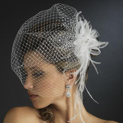 Jeweled Rhinestone Feather Fascinator Russian Bird Cage Veil