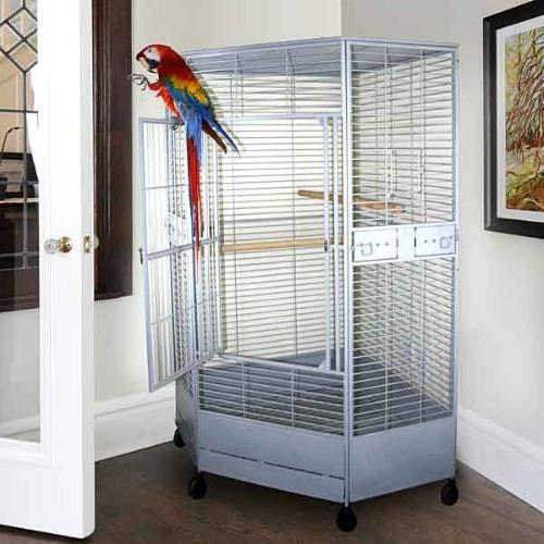 "Corner Cage Perfect African Greys, Large Birds/Parrots - X 36""D -"