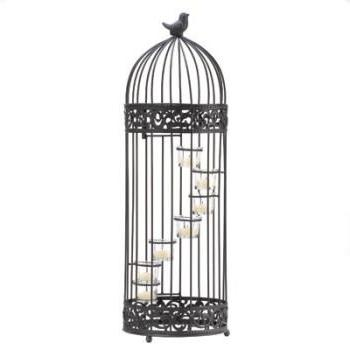 koehler Home Decor Gift Accent Glass Birdcage Staircase Meta