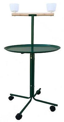 "Large 46"" Parrot Play Stand Perch Cups Metal Base African Gr"