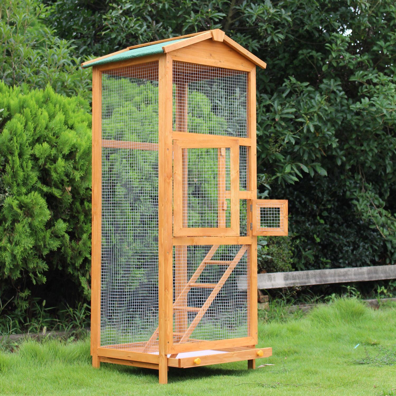 Lg Outdoor Bird Cage Wood Tall Roof Ladder 2 Doors Parakeet