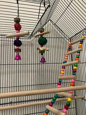 Large Roof Bird Flight Cage W/Toys Canary Cockatiel