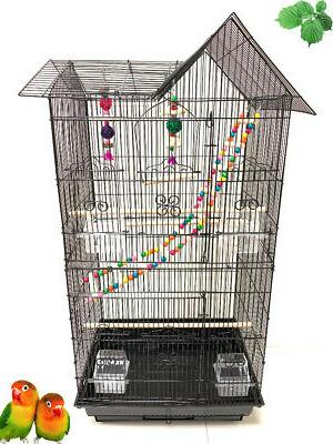 large bird flight cage with toy canary