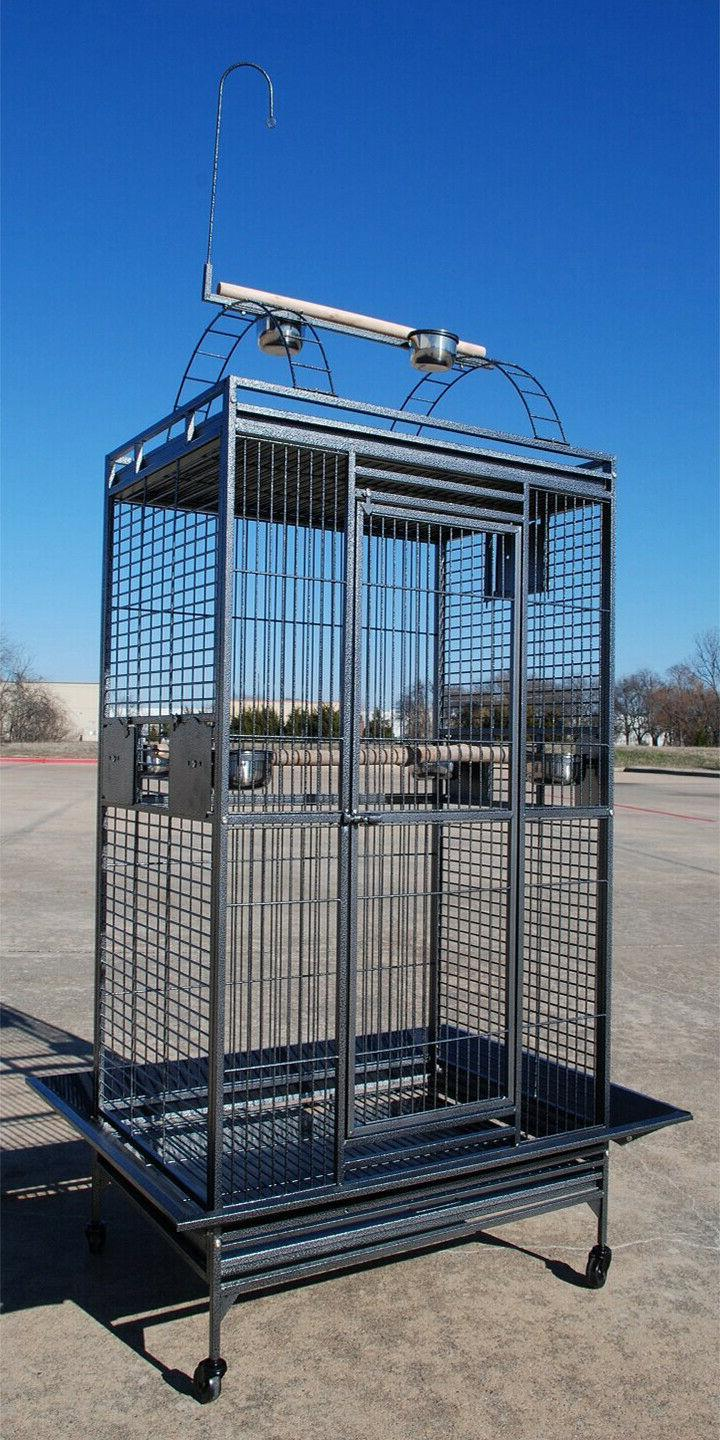 large open play top parrot cage