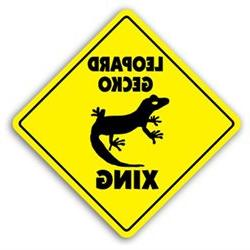 LEOPARD GECKO CROSSING Sign xing gift novelty reptile lizard
