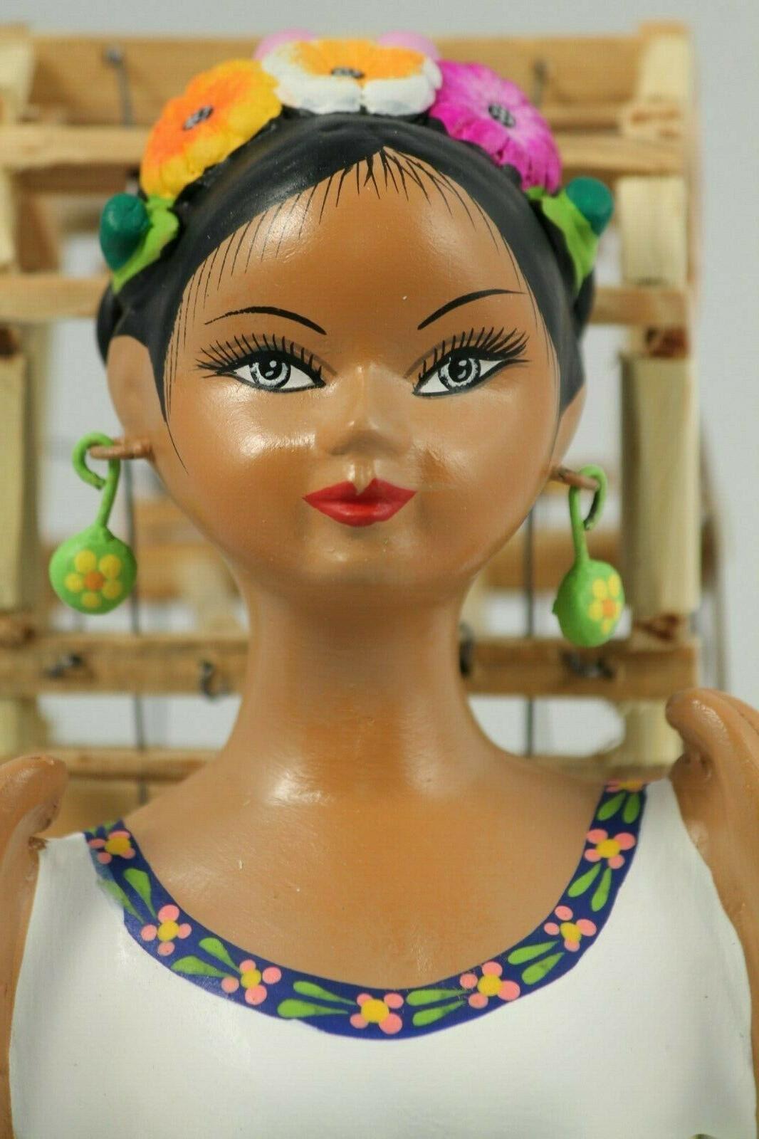 Lupita Najaco Doll Bird Cage Green Ceramic Mexican Folk Decor