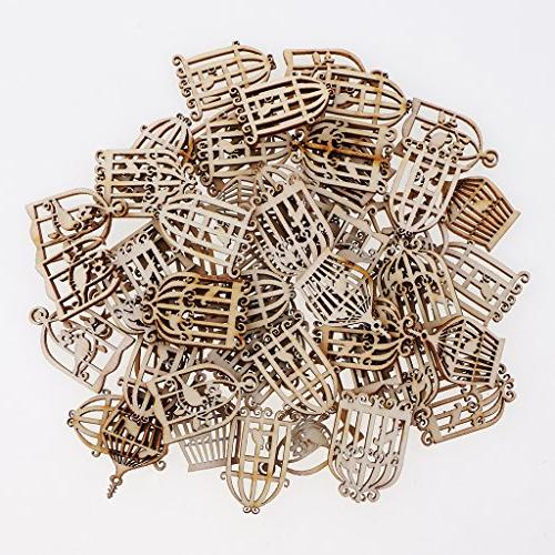 MagiDeal 100 Pieces Styles Mixed Birdcage Wooden Embellishment Craft Table Home Decorations
