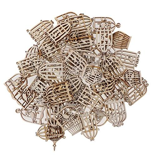 MagiDeal 100 Pieces Styles Birdcage Shapes Shabby Chic Wooden Embellishment Scrapbooking Craft DIY Chimes Table Home Decorations