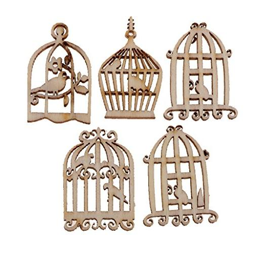 MagiDeal 5 Styles Birdcage Shabby Wooden Craft DIY Table Hanging Decorations