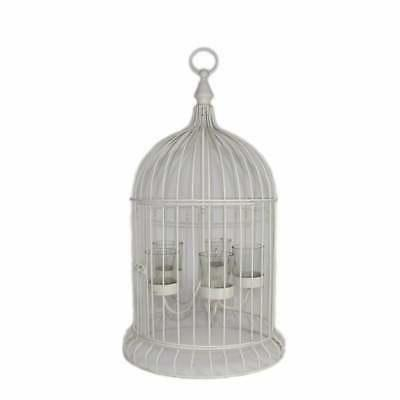 Metal Bird Cage Candle Holder, Off White Off White