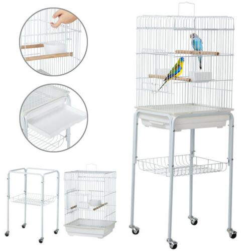 47'' Rolling Bird Cage w/Stand Pet Parrot Parakeet Finch Bud