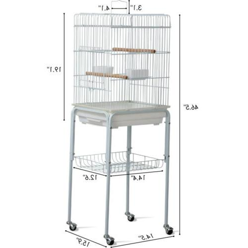 Metal Rolling Mid- Parrot Cage with Stand
