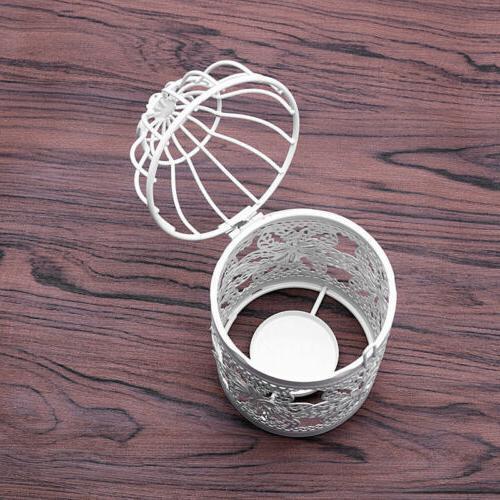 Metal Hollow Candle Tealight Candlestick Bird Cage