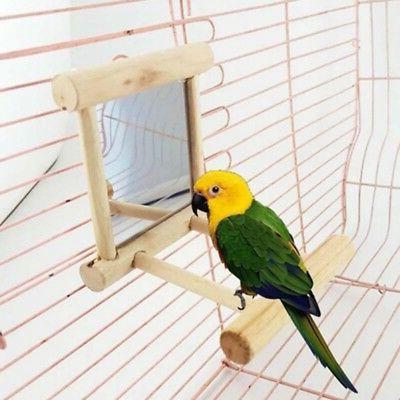Bird Wooden Mirror Toy Parrots Cockatiel Stand Platform Cage