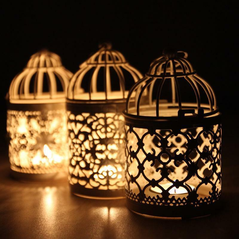 Moroccan Tealight Candle Holder Wrought Iron Birdcage Home W