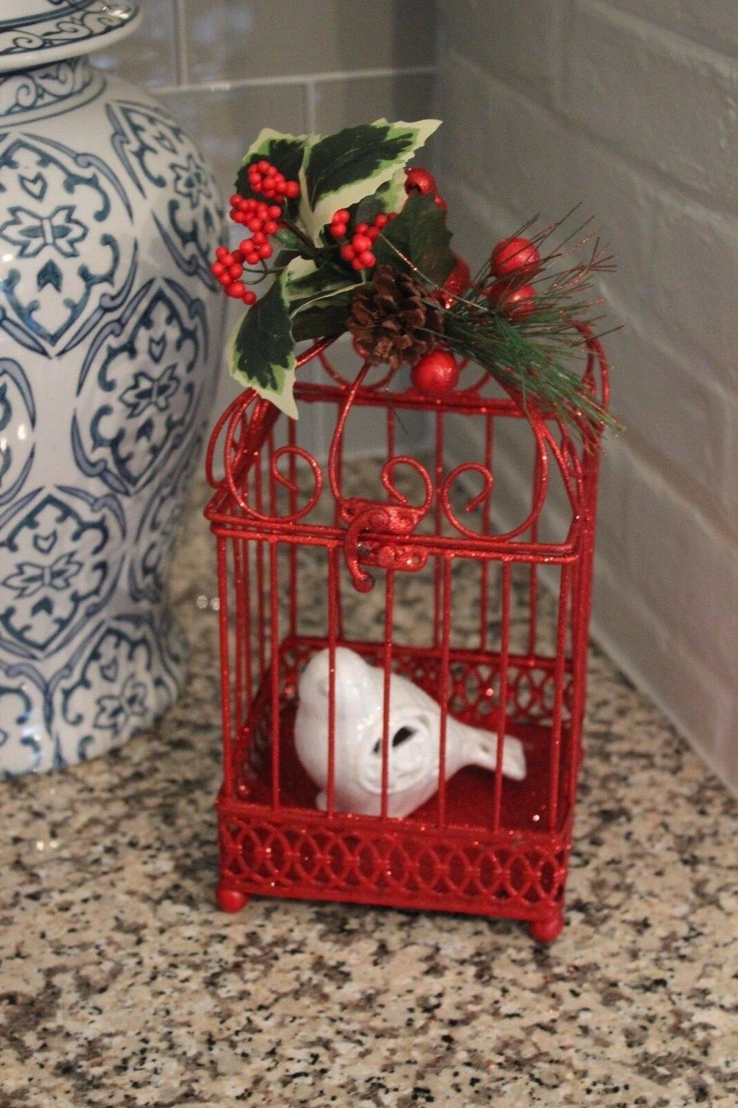 NEW w/ Ceramic Bird HOLIDAY Home Decor Cherry RED