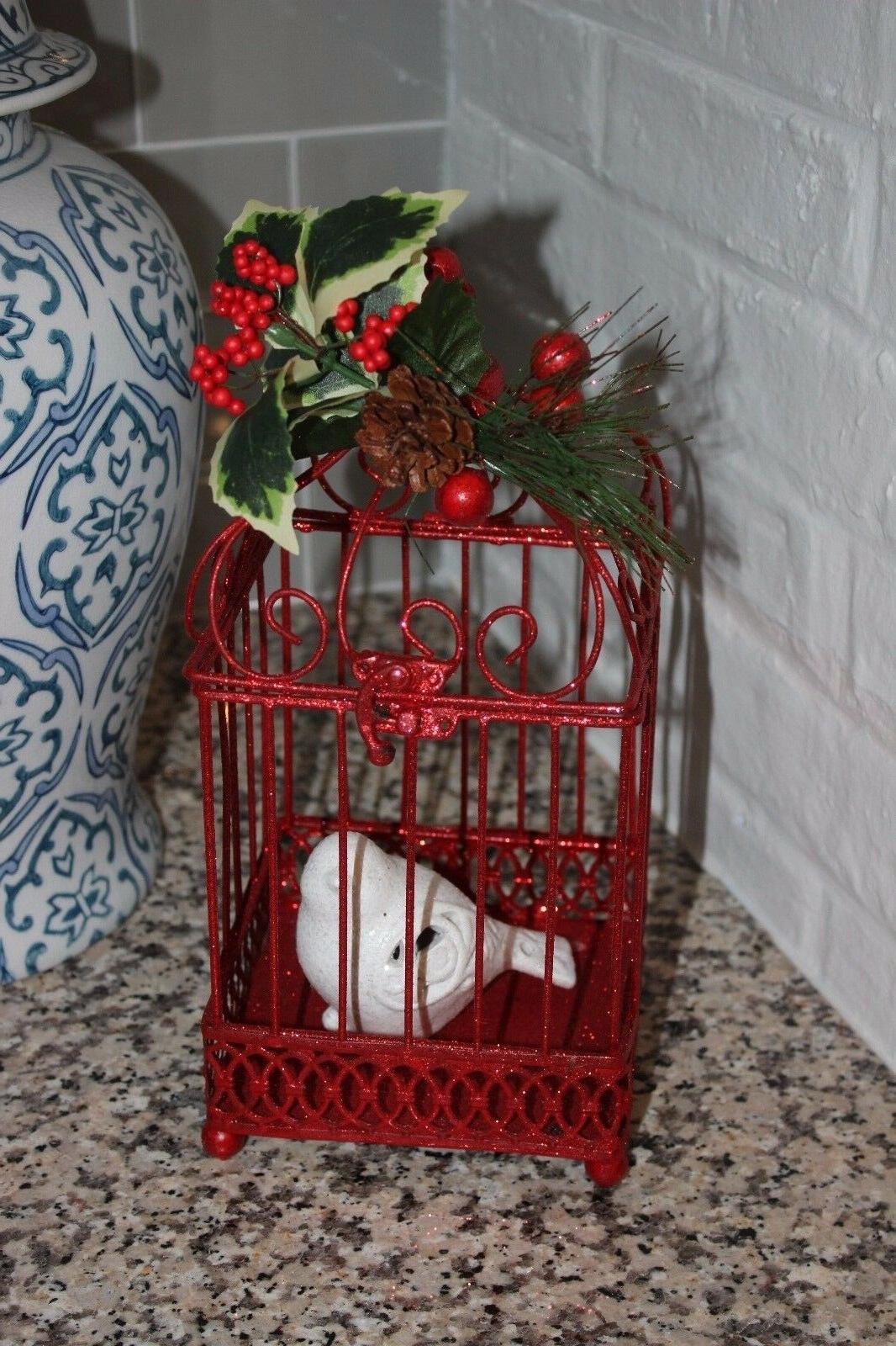 NEW Ceramic Bird CHRISTMAS HOLIDAY Decor RED