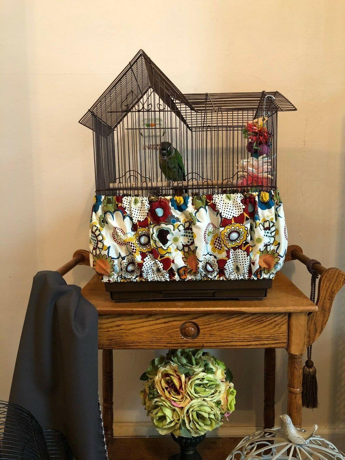 NEW Handmade Bold Floral Fabric Cage Seed Catcher Guard Cover XS-XXL