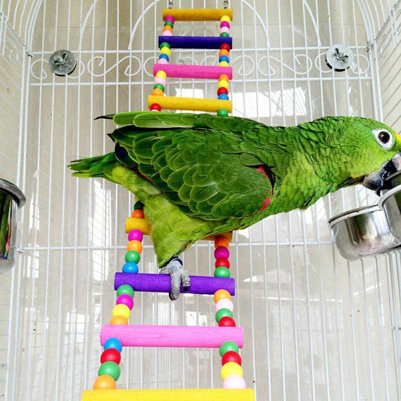 NEW Large Pet Bird Wood Ladder Climb Parrot Cage Swing Shelf
