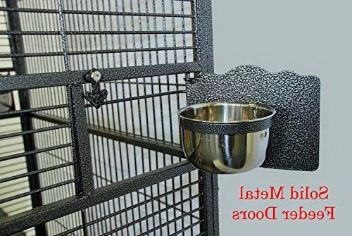 Mcage Iron Bird Parrot Cage Double Play Top,