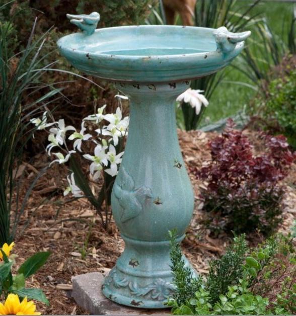 Outdoor Antique Ceramic Bird Bath Pedestal Vintage Garden Ya