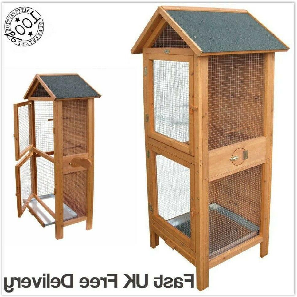 Outdoor Wooden Bird Aviary Bird Cage Indoor Small Birds Parr