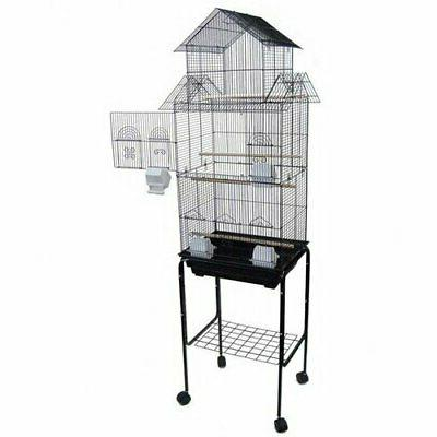 Pagoda Top Small Bird Cage with Stand - Color: Black