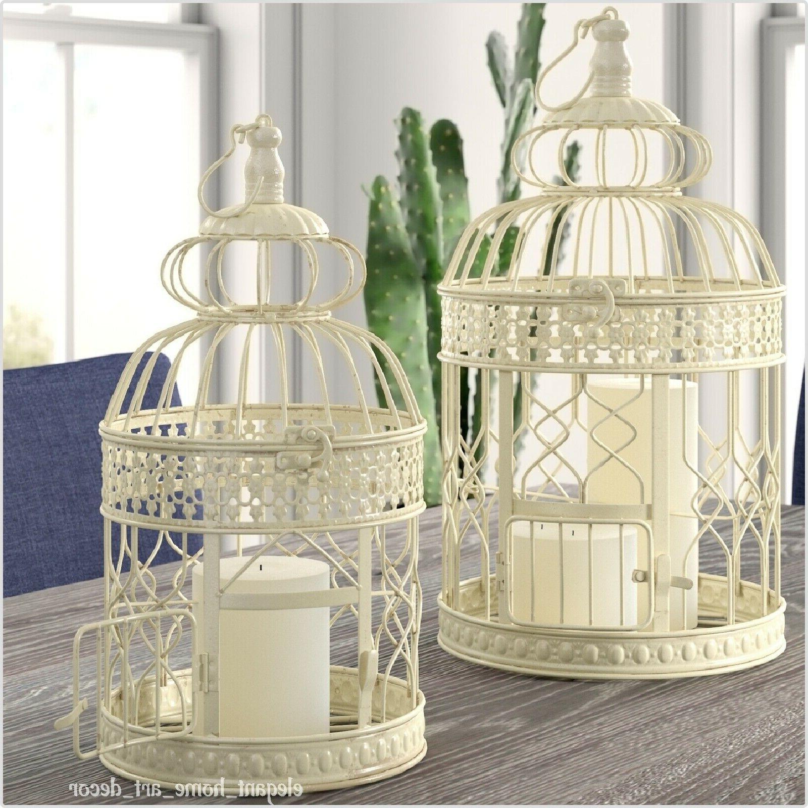 Pair Of Cages Distressed Cream Iron Shabby Wedding Decor