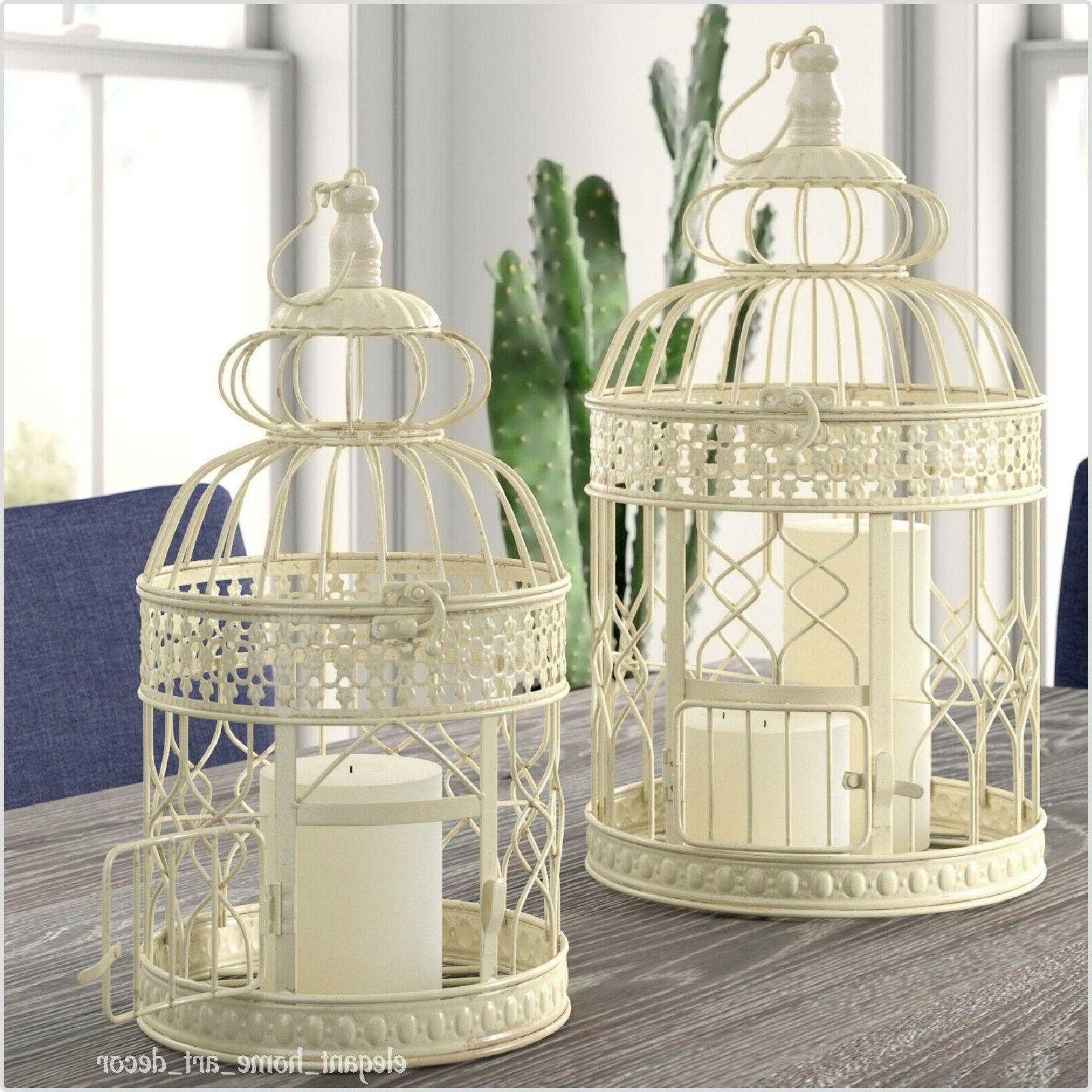 pair of rustic bird cages distressed cream
