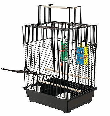Parakeet Bird Cage Parrot Stand Feeder House Vintage Play Pet