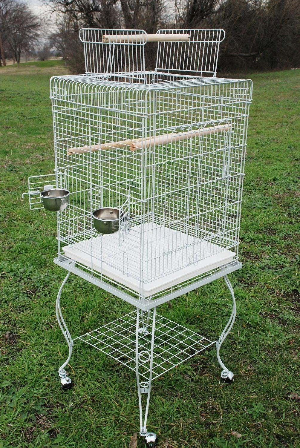 Large 58-Inch Parrot Bird Cage Open Play-Top With Stand Whee