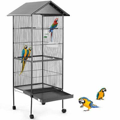 "61"" Large Parrot Bird Cage Play Top Pet Supplies w/Perch Sta"