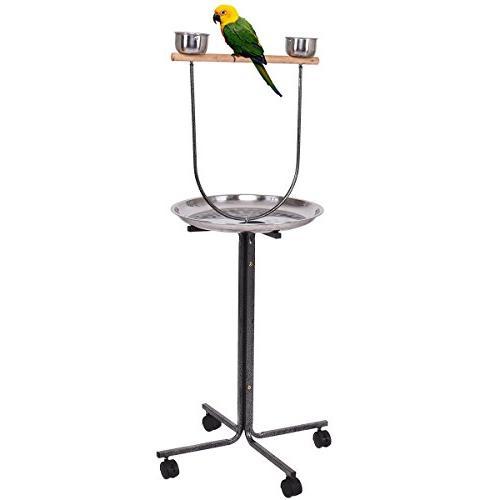 Giantex Bird Stand Steel Pan Feeding Rolling