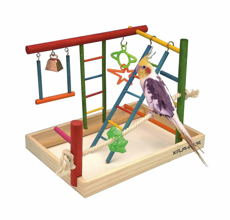 Penn Plax Wood Bird Playpen, Parrot Gym Ladder with Toys Exe