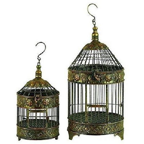 Hanging Metal Bird Cage 2 Pack Pet Enclosure In Out Door Dec
