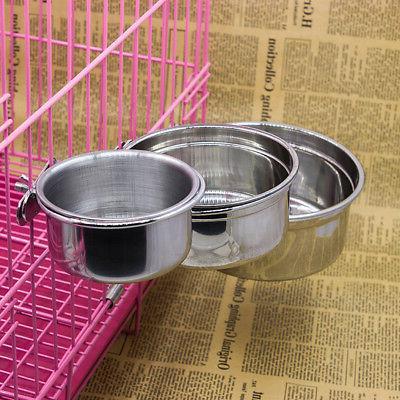 Stainless Steel Hanging Bowl Dog Cat Feeding Food Bird Water