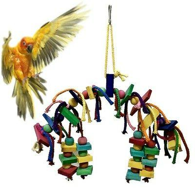 Pet Parrot Bird Chew Toy Cages Hang Toys Wood Large Rope Cav