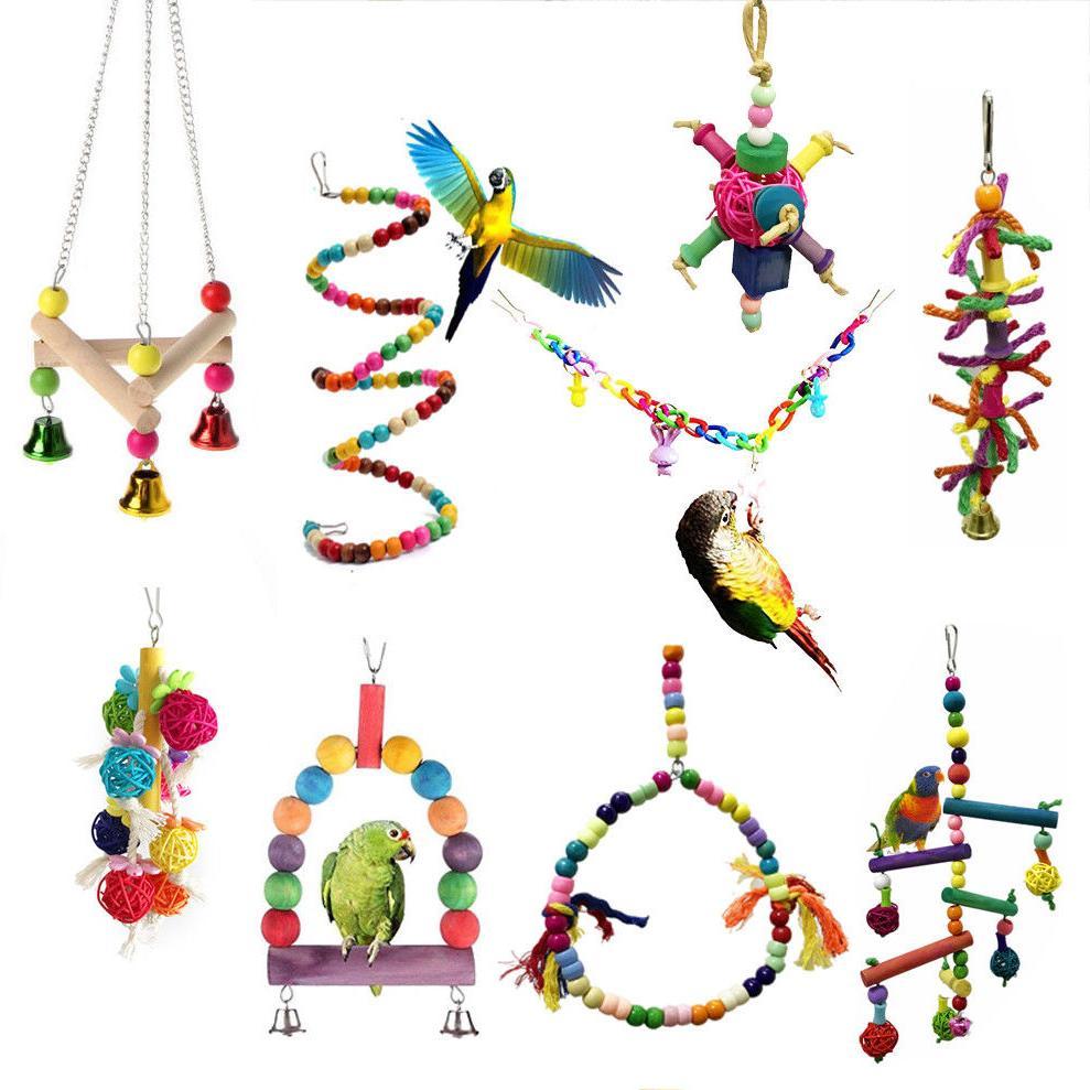 Pet Swing Bird Toy Parrot Rope Harness Parakeet Cockatiel Bu