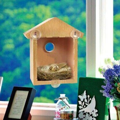 View Bird Nest Box Suction Cup Window Mount Wooden Nesting F