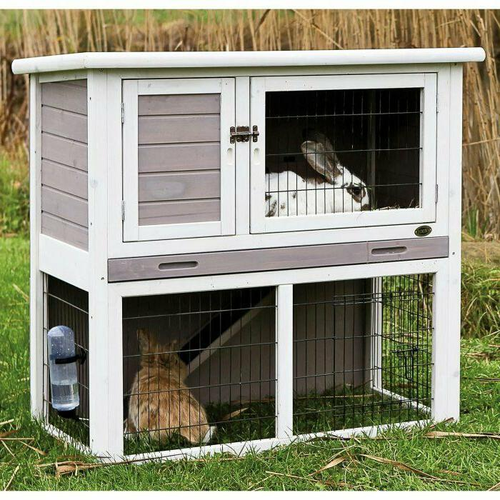 Trixie Pet Products Rabbit Hutch with Sloped Roof - Gray/Whi