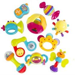 10 Piece Baby Rattle Toy Gift Set with Mirror, Bells & Instr