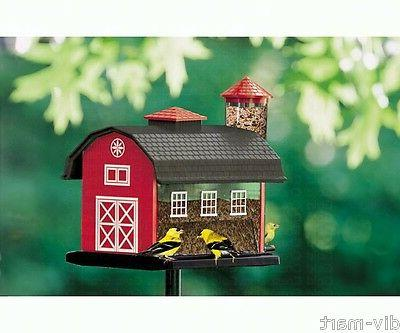 RED BARN with SILO COMBO BIRD FEEDER, Hanging or Pole Mount,