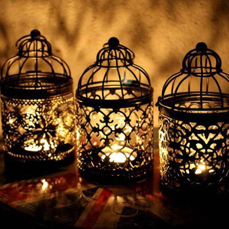 retro bird cage hollow candle holder tealight