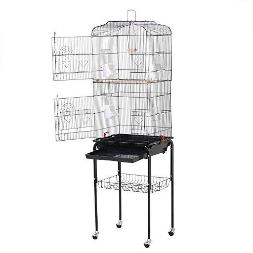 "Yaheetech 36"" Rolling Cage for Cockatiels Finches Medium Travel"