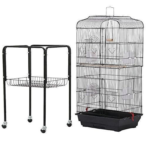 Yaheetech Standing Medium Cage for Cockatiel Sun Parakeet Cheek Finch Budgie Canary Pet with Stand,