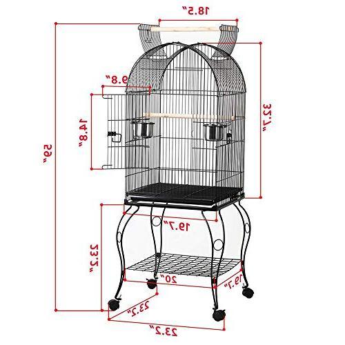 "Yaheetech 59"" Medium Bird Open Top Parrot Cockatiel Sun Conure Canary Lovebird Parrotlet Finch Cage with Detachable"