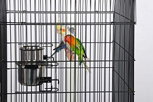 Yaheetech Rolling Medium Cage Cockatiel Sun Conure Canary Lovebird Budgie Parrotlet Cage Detachable Stand