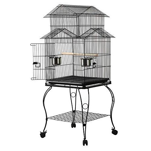 Yaheetech Rolling Triple Bird Parrot Parakeet Green Cheek Conure Canary Lovebird Pet Cage Detachable Stand