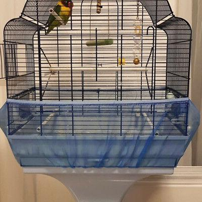 Seed Mesh Pet Bird Cage Net Cover Skirt Traps Cage Basket