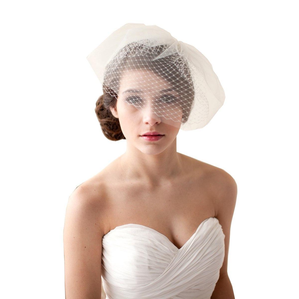 short wedding veil <font><b>Bird</b></font> <font><b>cage</b></font> Cut Edge Vail